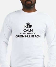 Keep calm by escaping to Green Long Sleeve T-Shirt