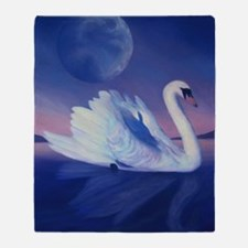 Swan in Reflection Throw Blanket