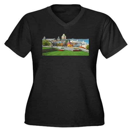 Old Quebec Panoramic View Women's Plus Size V-Neck
