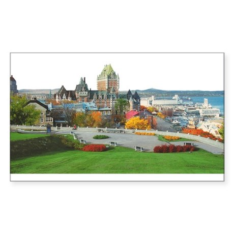 Old Quebec Panoramic View Rectangle Sticker