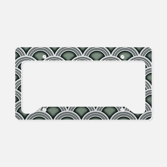 Art Deco Concentric Sage License Plate Holder