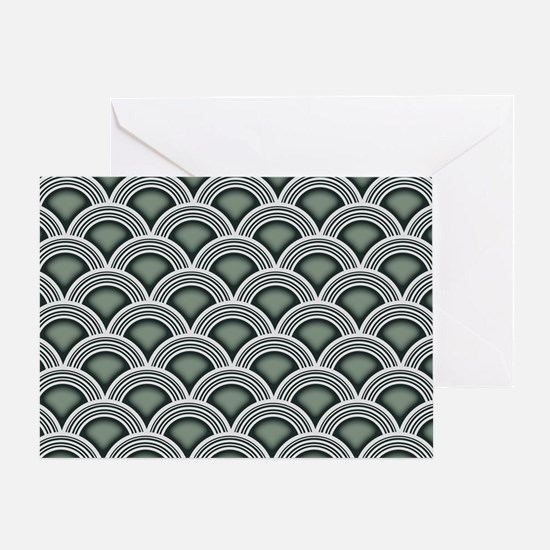 Art Deco Concentric Sage Greeting Card