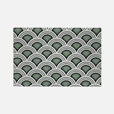 Art Deco Concentric Sage Rectangle Magnet