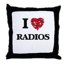I love Radios Throw Pillow