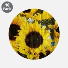"""western country yellow sunfl 3.5"""" Button (10 pack)"""