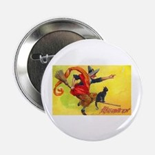 """Halloween Witch on Broom 2.25"""" Button (10 pack)"""