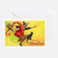 Halloween Witch on Broom Greeting Card