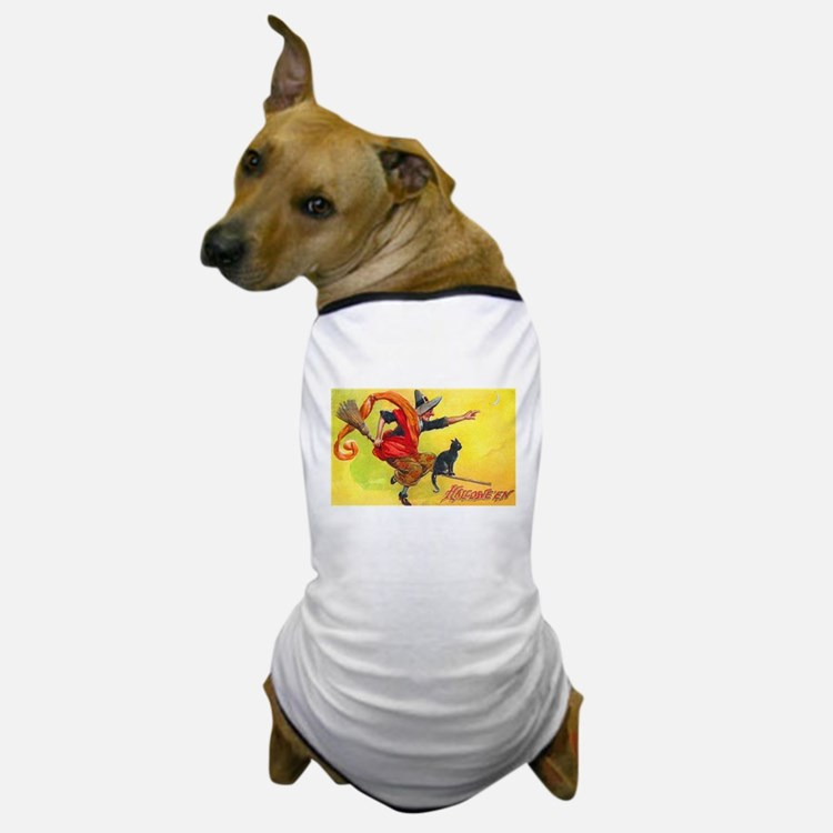 Halloween Witch on Broom Dog T-Shirt