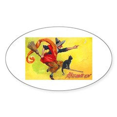 Halloween Witch on Broom Oval Decal