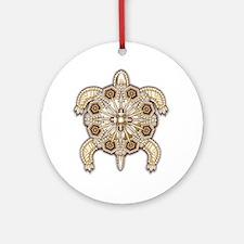White Native Beadwork Turtle Round Ornament
