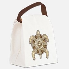 White Native Beadwork Turtle Canvas Lunch Bag