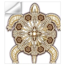 White Native Beadwork Turtle Wall Decal