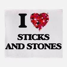 I love Sticks And Stones Throw Blanket