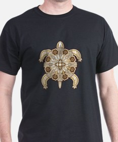 White Native Beadwork Turtle T-Shirt
