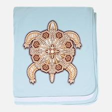 White Native Beadwork Turtle baby blanket