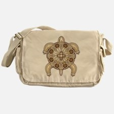 White Native Beadwork Turtle Messenger Bag