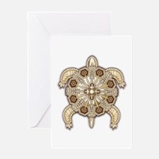 White Native Beadwork Turtle Greeting Card