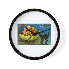 Black Cat & Pumpkins Wall Clock