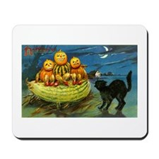 Black Cat & Pumpkins Mousepad