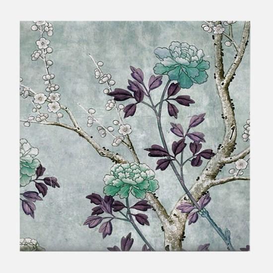 Asian Flowers Tile Coaster