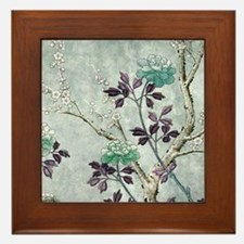 Asian Flowers Framed Tile