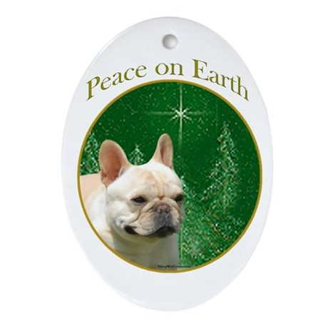 Frenchie Peace Oval Ornament