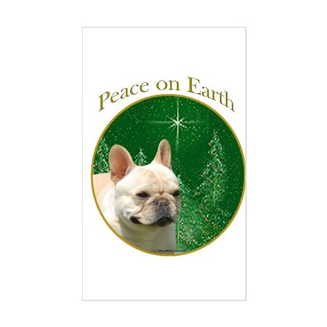 Frenchie Peace Rectangle Sticker