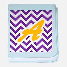 Purple Chevron Dark Gold A baby blanket