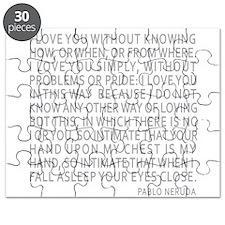 Neruda Quote- Blue Gray Puzzle