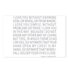 Neruda Quote- Blue Gray Postcards (Package of 8)