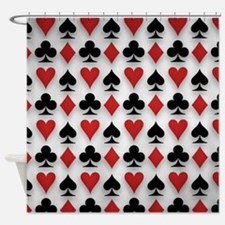 Spades Clubs Diamonds and Hearts Shower Curtain