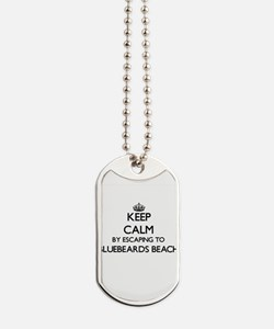 Keep calm by escaping to Bluebeards Beach Dog Tags