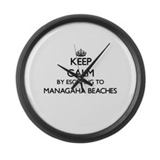 Keep calm by escaping to Managaha Large Wall Clock