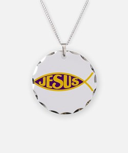 ICHTHYS JESUS FISH CHRIST KI Necklace Circle Charm