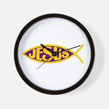 ICHTHYS JESUS FISH CHRIST KING PURPLE M Wall Clock