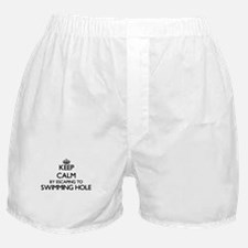 Keep calm by escaping to Swimming Hol Boxer Shorts