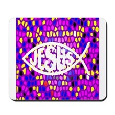 JESUS STAINED GLASS FISH ICHTHYS Mousepad