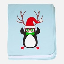 Cute Funny Hipster Xmas penguin baby blanket