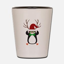 Cute Funny Hipster Xmas penguin Shot Glass