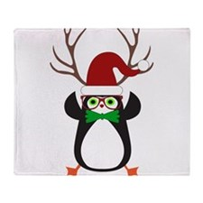 Cute Funny Hipster Xmas penguin Throw Blanket