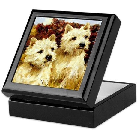 VINTAGE DOG ART:WESTIES Keepsake Box