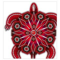 Red Native American Beadwork Turtle Poster