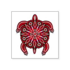 "Red Native American Beadwor Square Sticker 3"" x 3"""