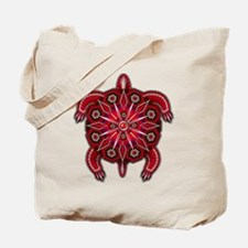 Red Native American Beadwork Turtle Tote Bag