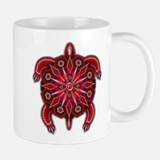 Red Native American Beadwork Turtle Mug