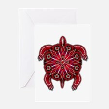 Red Native American Beadwork Turtle Greeting Card