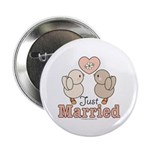 Just Married Bride Groom Button