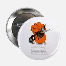 """Halloween Black Cat & Witch 2.25"""" Button (10 pack)"""