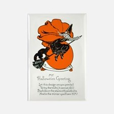 Halloween Black Cat & Witch Rectangle Magnet