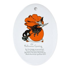 Halloween Black Cat & Witch Oval Ornament
